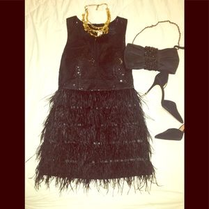 NEW!!  Cocktail/New Years Eve Feathered Dress